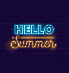 Hello summer realistic neon glowing lettering vector