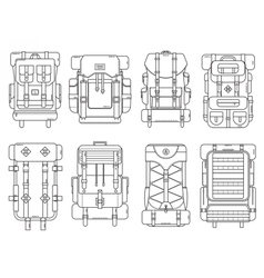 Hiking backpack set vector