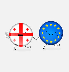 Icon flag of georgia and the european union two vector