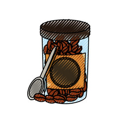 jar with coffee beans vector image