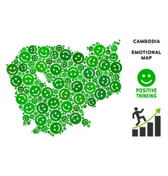 Joy cambodia map collage of smiles vector