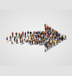 Large group of people crowded in arrow symbol way vector
