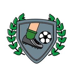 Leg foot kicking soccer ball inside shield emblem vector