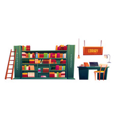 Library with books on shelves and laptop on table vector