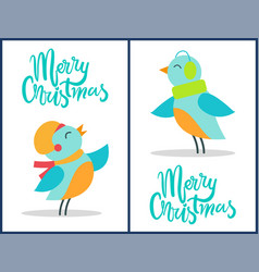 marry christmas birds set vector image