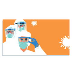 Medical staff wears personal protective equipment vector