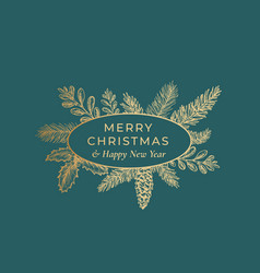Merry christmas abstract botanical card with oval vector
