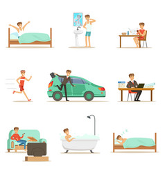 Modern man daily routine from morning to evening vector