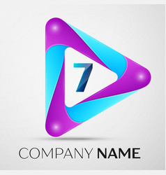 Number seven logo symbol in the colorful triangle vector
