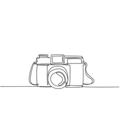 One single line drawing old retro analog film vector