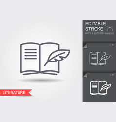 open book with pen line icon with editable stroke vector image