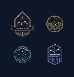 Outdoor activities logo set vector