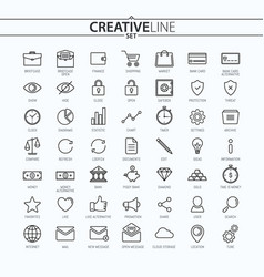 Outline business and finance icons vector