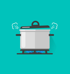 Pan with steam on gas stove fire cooking some vector