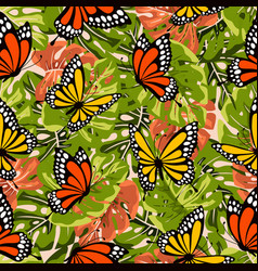 pattern with butterflies and leaves vector image