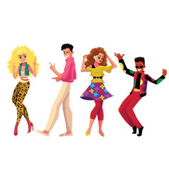 People in 1980s style clothes dancing at retro vector