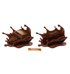 Piece chocolate and chocolate splash 3d vector