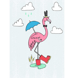 pink flamingo in red rain boots vector image