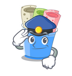 police rolled ice creams in cartoon cups vector image