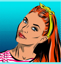 Pop Art Woman - on a polka-dots background vector image