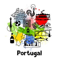Portugal print design portuguese national vector
