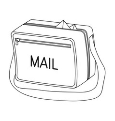 Postal bagmail and postman single icon in outline vector