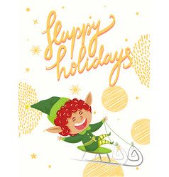 postcard with elf hero happy holidays vector image