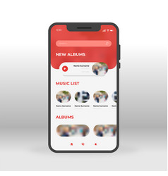 red music ui ux gui screen for mobile apps design vector image
