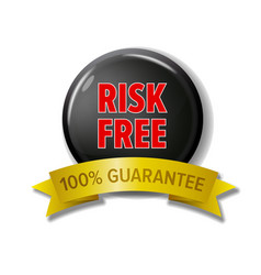 Round black button risk free - 100 guarantee vector