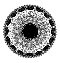 Round floral frame black and white vector