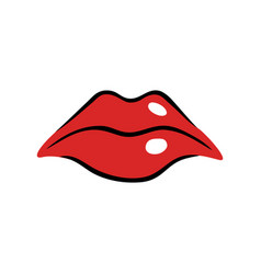 sad female mouth with red lips vector image