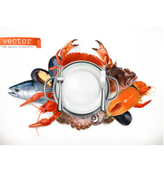 Sea food logo fish crab crayfish mussels octopus vector
