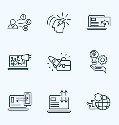 seo icons line style set with social media page vector image