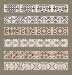 set of decorative tile borders vector image