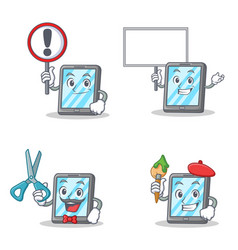 Set of tablet character with sign bring board vector