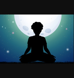 Silhouette man meditating in park at night vector