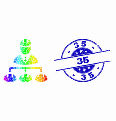 spectral dotted engineer hierarchy icon and vector image