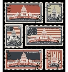 Stamps with the image of the US Capitol vector