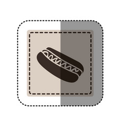 Sticker monochrome square with hot dog with sauce vector