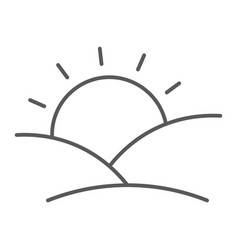 Sunset thin line icon sun and sunlight dawn sign vector