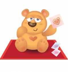 Teddy bear playing heart card vector