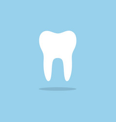 Tooth flat icon with shade on a blue background vector