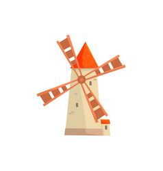 Traditional european stone windmill medieval vector