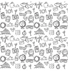 Travel doodle seamless pattern background vector