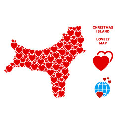 valentine christmas island map collage of vector image
