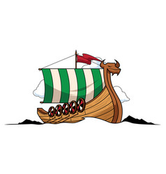 viking ship mascot vector image