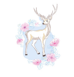 Watercolor isolated deer big antlers flowers and vector