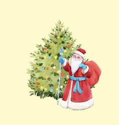watercolor santa claus vector image