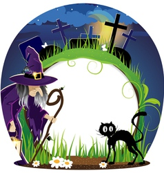 Witch and cat on a cemetery vector