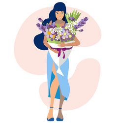 woman and large bouquet flowers in minimalist vector image